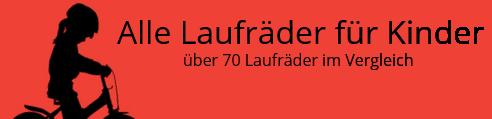 Kinderlaufrad Vergleich, 80 Laufräder für Kinder, Logo, Kind mit Laufrad vor rotem Hintergrund